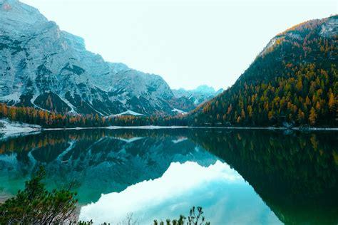 mountain  green grass  body  water  blue