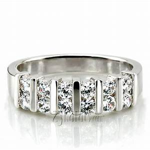 Double row bar set diamond wedding band 060 cttw for Double band diamond wedding ring