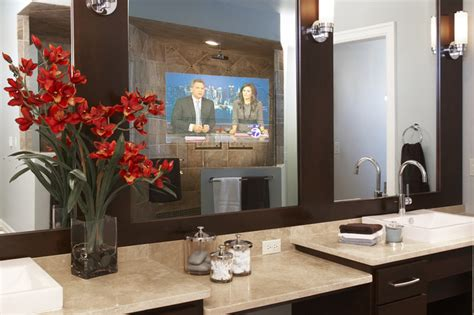 Tv Mirror Bathroom by Contemporary Bathroom