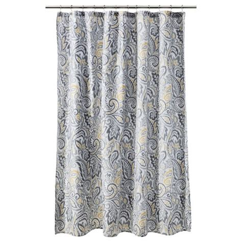 Yellow Gray Curtains Target by Threshold Paisley Shower Curtain Target