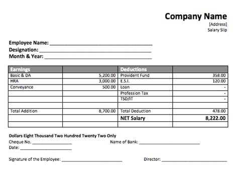 Editable Payslip Template by Pay Slip Templates Doc Simple Payslip Template Employee