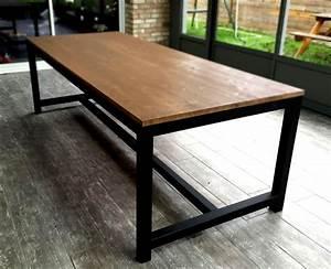 table salle a manger bois metal cuisine naturelle With table salle a manger bois metal pour deco cuisine