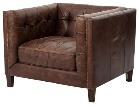 Abbott Distressed Leather Club Chair