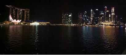 Night Panoramic Skyline Singapore