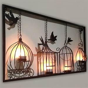 Birdcage tea light wall art metal hanging candle