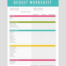 Free Printable Household Budget Worksheet  Excel & Pdf Versions Available Printables