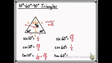 Trig Ratios For 30-60-90 Triangles