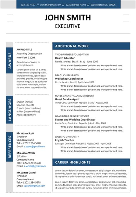 Navy Resume Exles by Executive Resume Navy Blue 2pg2
