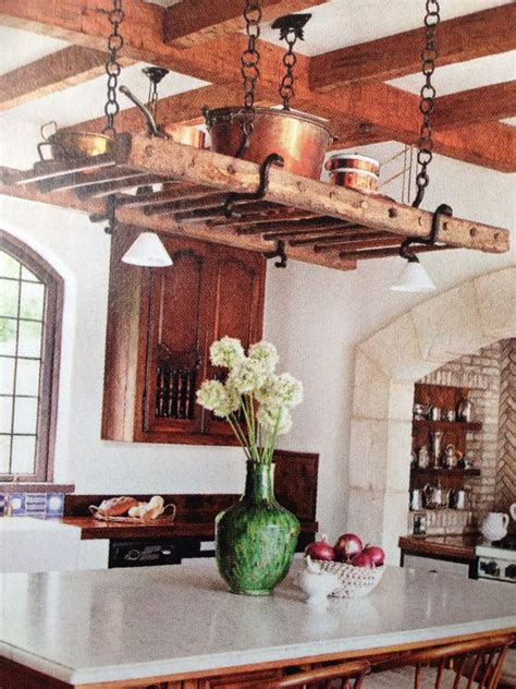 kitchen island with hanging pot rack ladder pot racks and vines on