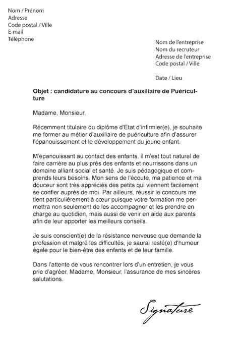lettre de motivation auxiliaire de bureau lettre de motivation concours auxiliaire de puériculture