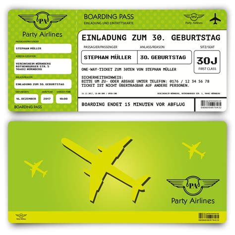 einladungskarten als flugticket  gruen zum geburtstag