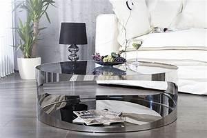 Table Basse En Verre Ronde : table basse ronde en verre noir et acier trance 90 cm 8 royale d co le blog mobilier ~ Teatrodelosmanantiales.com Idées de Décoration