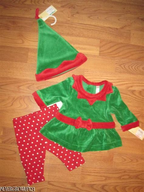 baby girl infant green velour christmas elf suit with hat