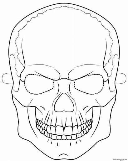 Halloween Mask Coloring Skull Pages Outline Printable