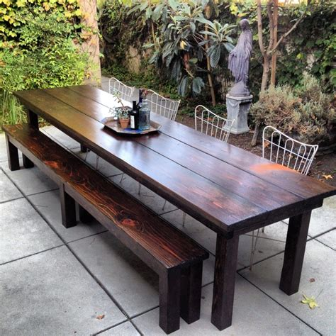 11ft redwood outdoor farmhouse dining table rustic