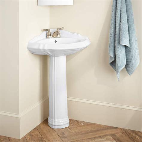 Regent Corner Porcelain Pedestal Sink  Pedestal Sinks