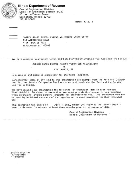 tax id letter reimbursement form  joseph sears school