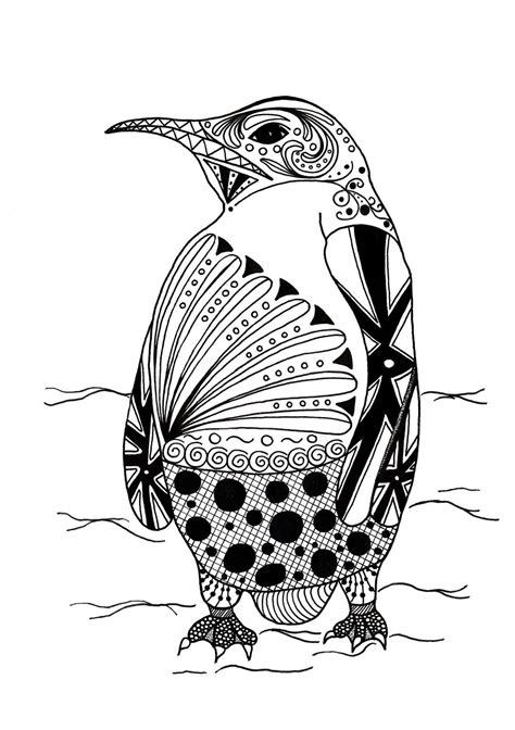 intricate penguin adult coloring page favecraftscom