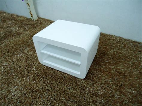 white high gloss lounge cube side table night standid