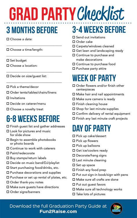 Carnival Birthday Checklist The Grad Checklist For More Helpful Tips On