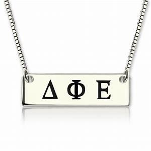 Custom alpha gamma delta greek letter sorority bar necklace for Sorority necklaces letters