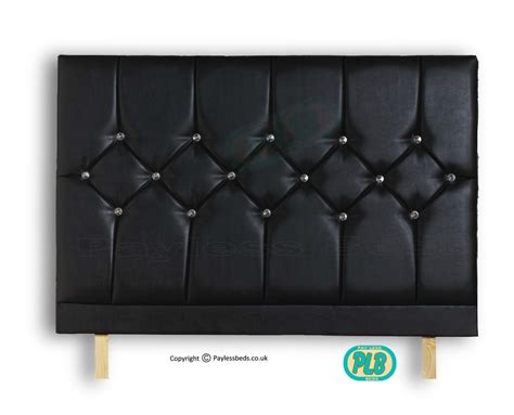 Black Leather Headboard With Diamonds by Headboard Buttons Faux Leather Black
