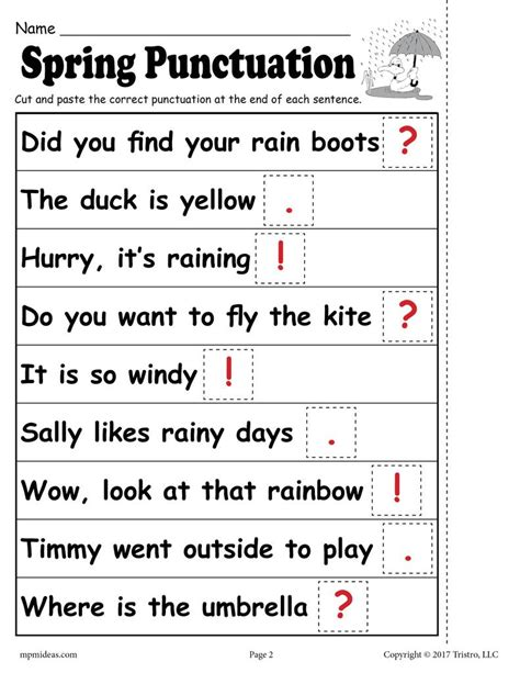 free printable punctuation worksheet supplyme