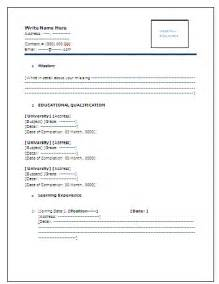 6 simple resume format for freshers in ms word janitor