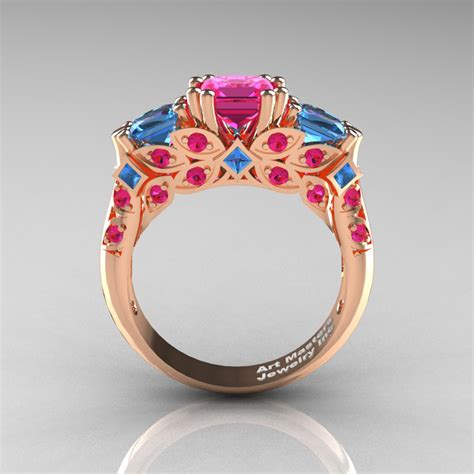 classic  rose gold  stone princess pink sapphire