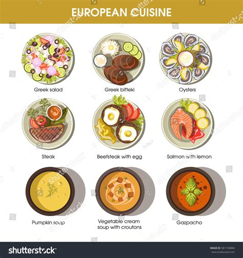 european cuisine european cuisine icons restaurant menu templates stock