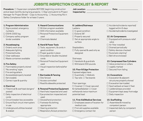 good form jobsite safety checklist remodeling good