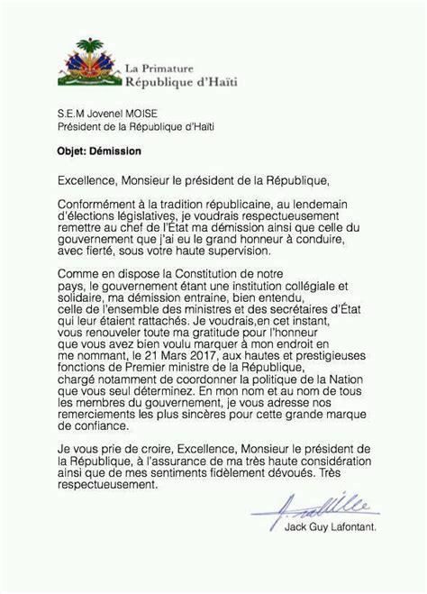 letter  resignation  jack guy lafontant prime