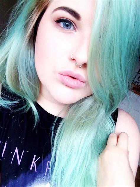 mint green pastel hair color  fair skin blue eyes