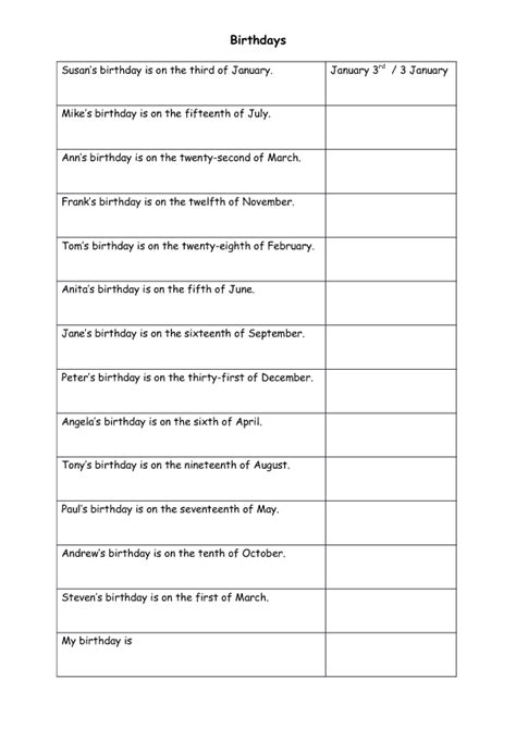33 Free Dates Worksheets