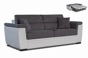 canape 3 places convertible anna blanc gris With canapé convertible 2 couchages