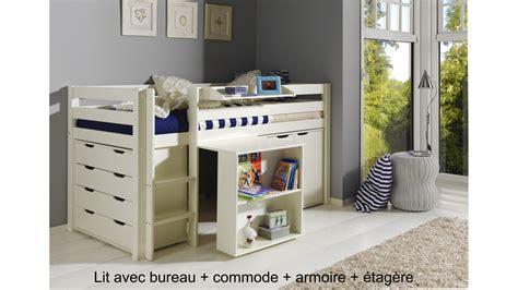 lit mezzanine combin bureau lit enfant combiné bureau et rangement theo en pin massif