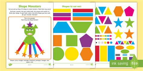 how much is a pack and play shape monsters worksheet activity sheet ni ks1