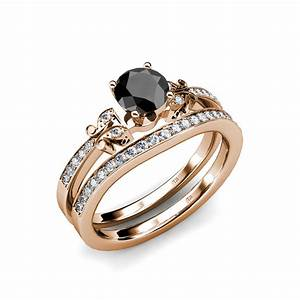 black white diamond 4 prong milgrain bridal set ring With sell wedding ring set