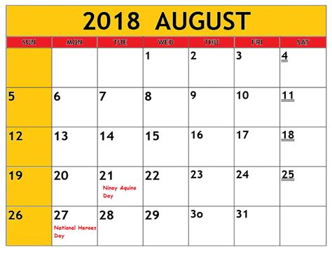august calendar  philippines  printable template