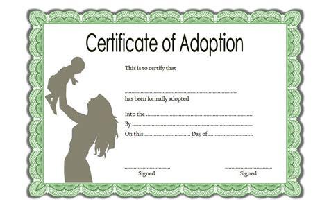 Adoption Certificate Certificate Adoption Certificate Templates Best 10 Templates