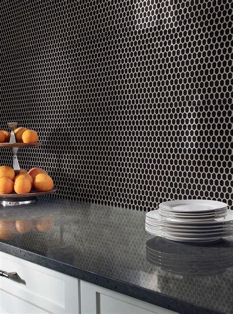 black glossy penny  mosaic tile ceramic backsplash tile