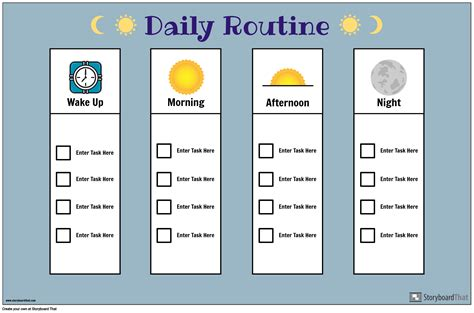 daily routine chart storyboard  poster templates