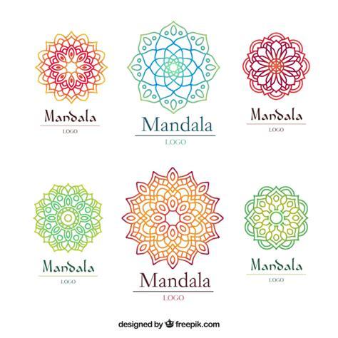plantilla de logo de mandala multicolor descargar vectores gratis