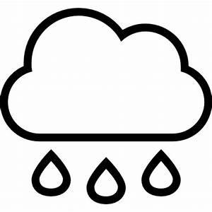 Rain cloud with drops falling weather stroke interface ...