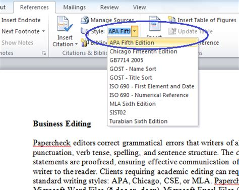 apa referencing style using insert citation in ms word ppt microsoft bibliography builder word 2010