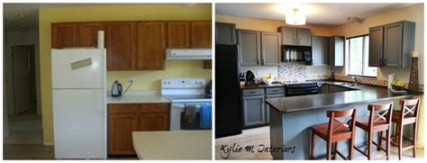 updating oak kitchen cabinets before and after painted oak kitchen cabinets chelsea gray before and after