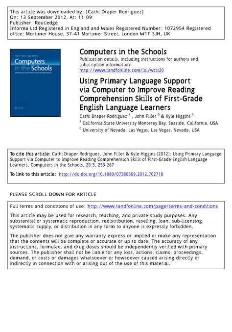 (pdf) Using Primary Language Support Via Computer To Improve Reading Comprehension Skills Of