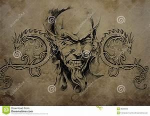 Tattoo Skull Over Vintage Paper, Black Tribal Tattoos ...