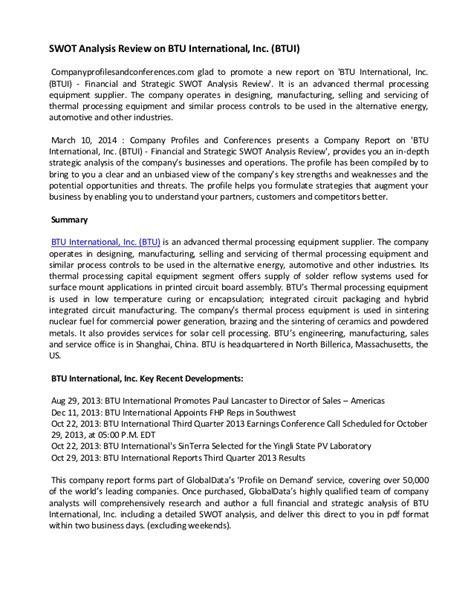 Swot Analysis Review On Btu International, Inc (btui