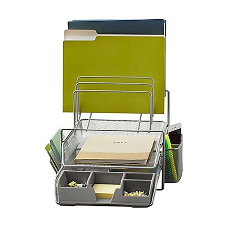 bed bath and beyond desk l org all in one wire mesh desk organizer in silver bed